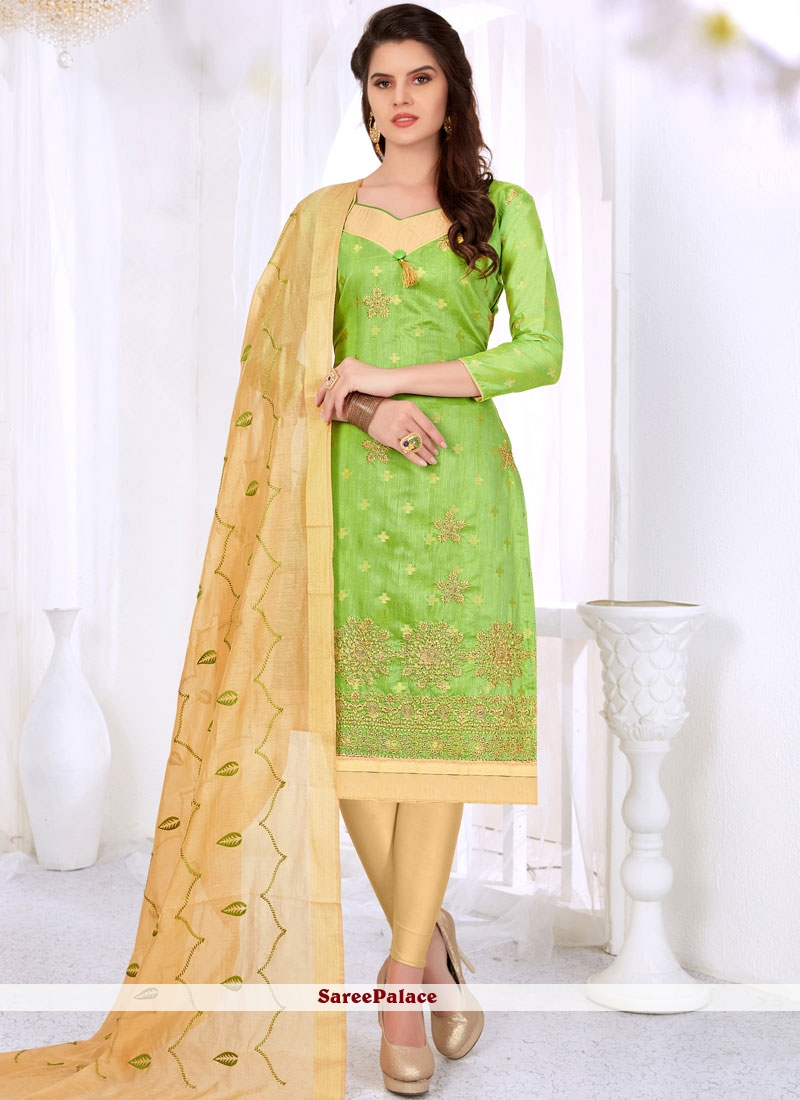 Embroidered Cotton   Churidar Suit in Green