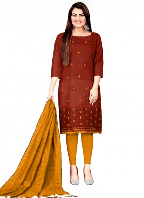 Embroidered Cotton Churidar Suit in Maroon