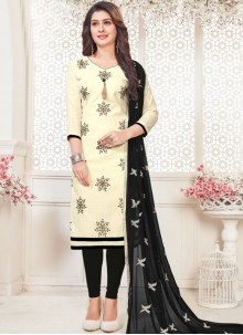 Embroidered Cotton   Churidar Suit in White