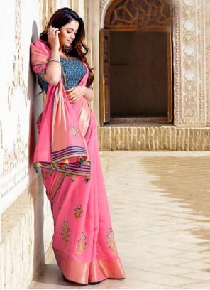 Embroidered Cotton Pink Classic Designer Saree