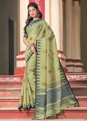 Embroidered Cotton Classic Saree in Green