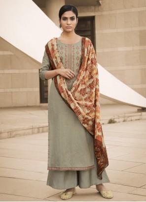 Embroidered Green Cotton Designer Palazzo Salwar Kameez