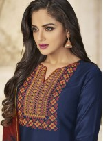 Embroidered Cotton   Designer Patiala Suit in Navy Blue