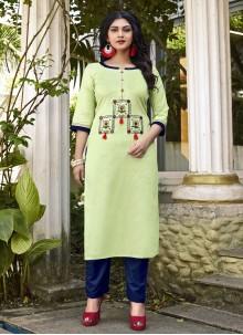 Embroidered Cotton Green Designer Kurti