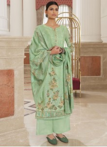 Embroidered Cotton Green Designer Palazzo Salwar Kameez