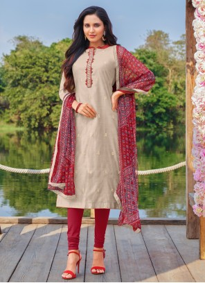 Embroidered Cotton Grey Churidar Designer Suit