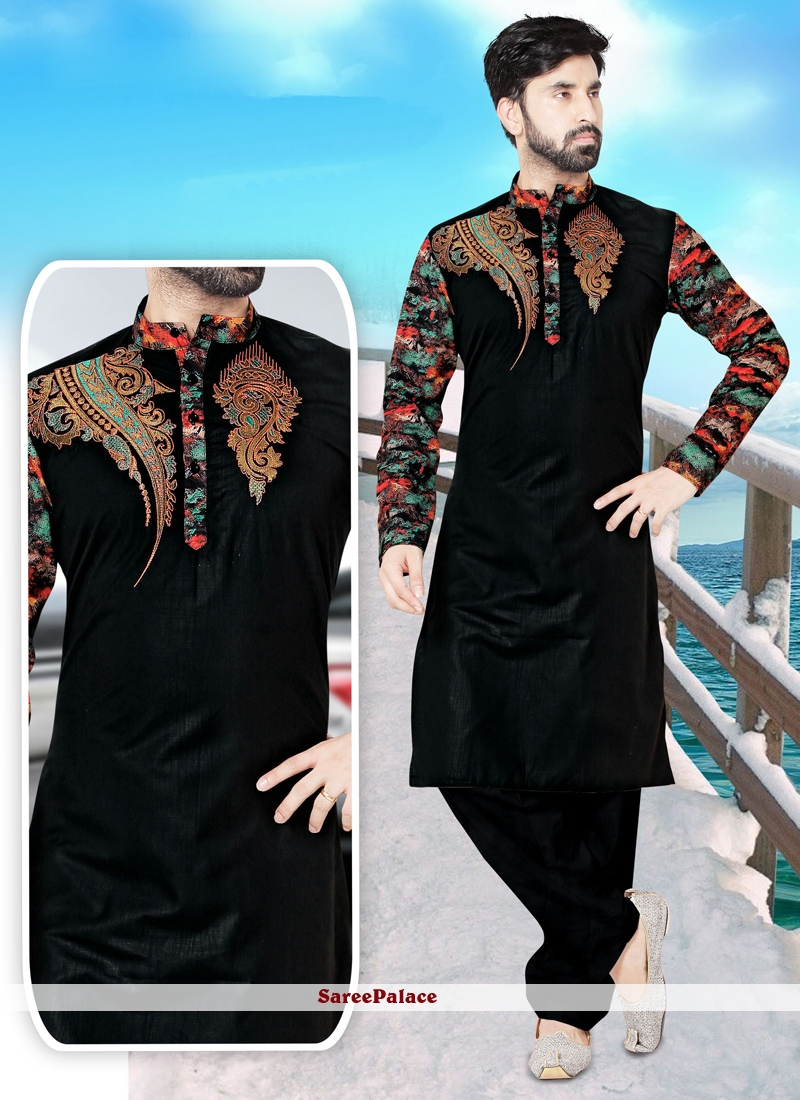 Embroidered Cotton   Kurta Pyjama in Black