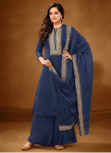 Embroidered Cotton Lawn Designer Pakistani Suit in Blue