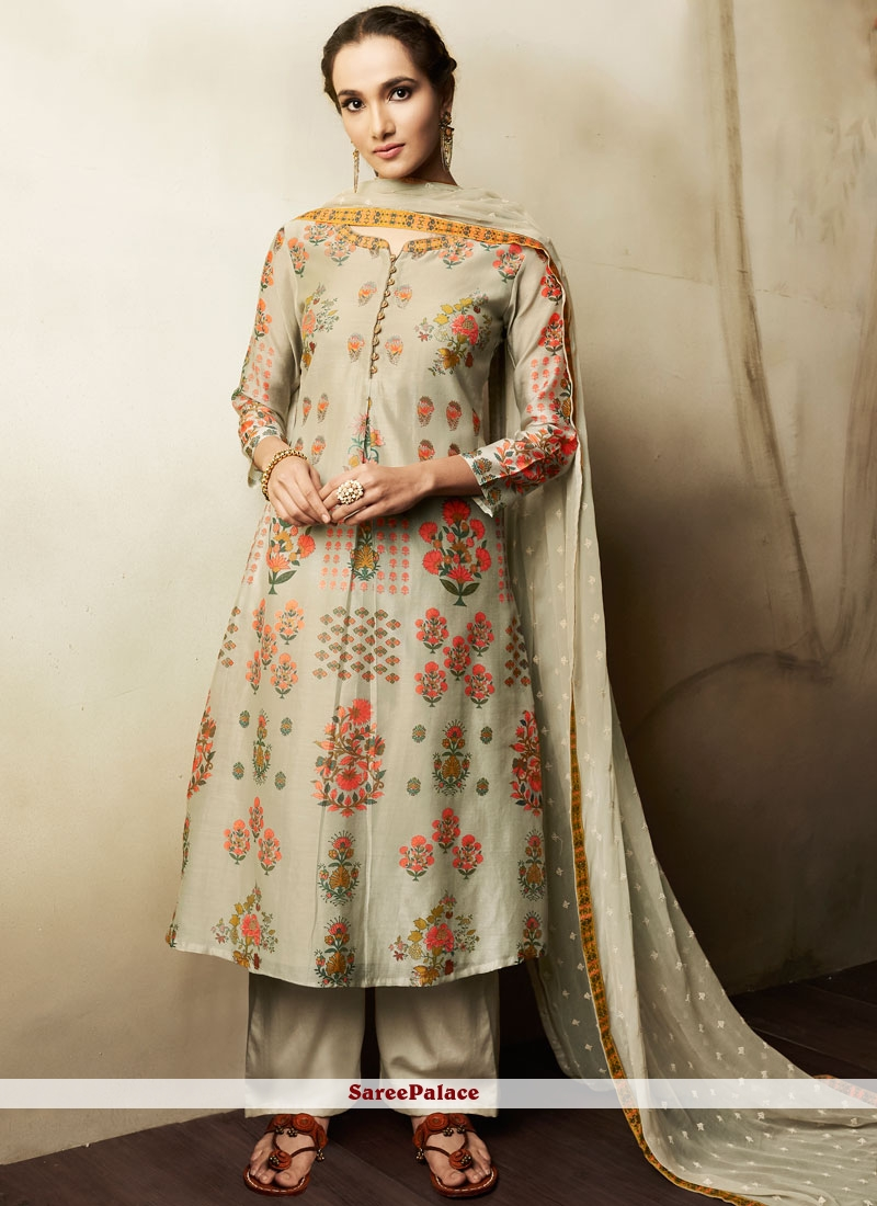 c12b9da387ad Buy Embroidered cotton lawn Designer Pakistani Suit in Grey Online
