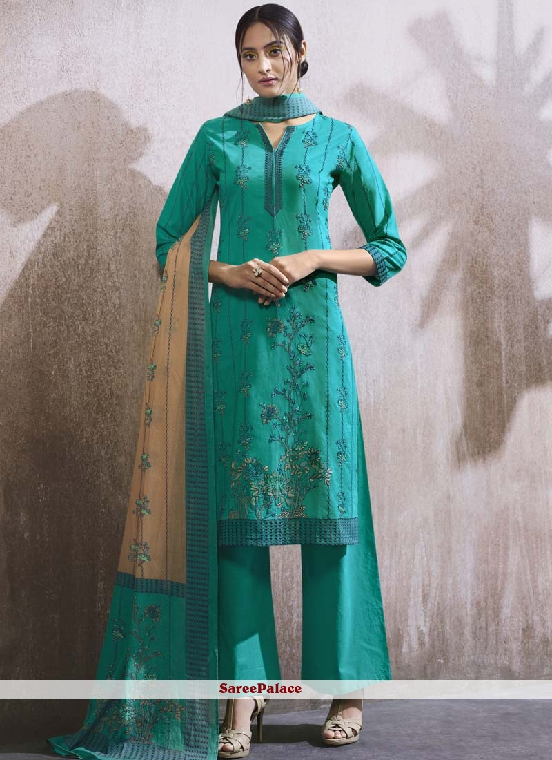 Embroidered Cotton Lawn Designer Palazzo Suit in Blue