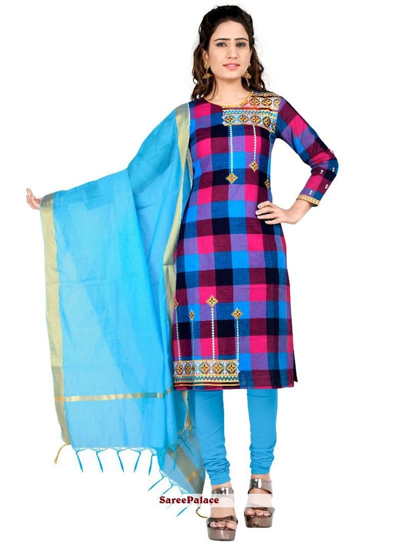 Embroidered Cotton Multi Colour Churidar Salwar Kameez