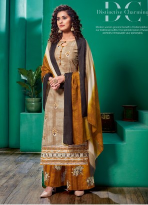 Beige And Brown Embroidered Cotton Pakistani Salwar Suit
