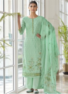 Sea Green Embroidered Cotton Palazzo Designer Salwar Suit