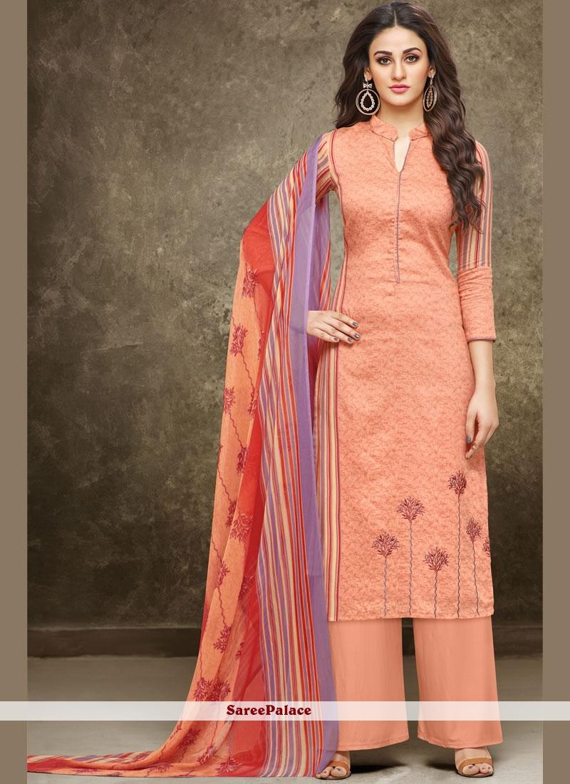 f58d604eea2b Buy Embroidered Cotton Palazzo Salwar Suit in Cream Online