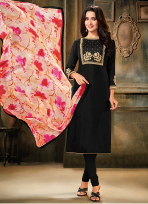 Embroidered Black Cotton Pant Style Suit
