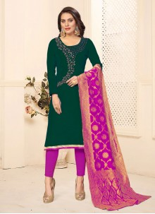 Embroidered Cotton Pant Style Suit in Green