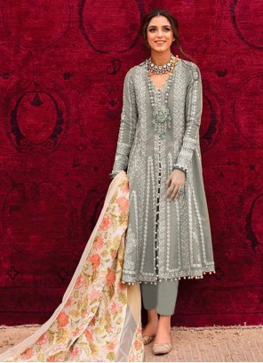 Embroidered Cotton Pant Style Suit in Grey