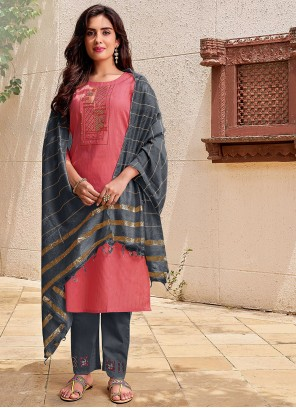 Embroidered Cotton Pant Style Suit in Pink