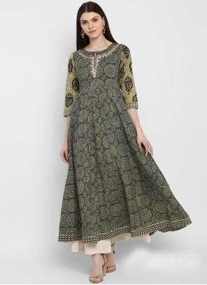 Embroidered Multi Colour Cotton Party Wear Kurti