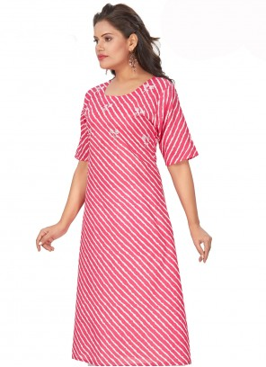 Hot Pink Embroidered Cotton Party Wear Kurti