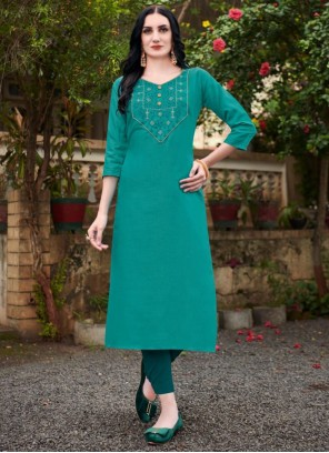 Blue Embroidered Cotton Party Wear Kurti