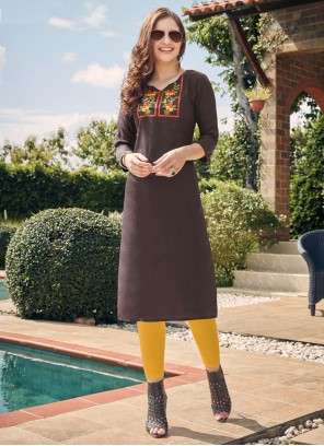 Brown Embroidered Cotton Party Wear Kurti