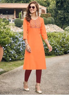 Orange Embroidered Cotton Party Wear Kurti