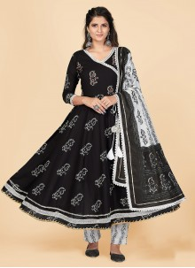 Black Embroidered Cotton Party Wear Kurti