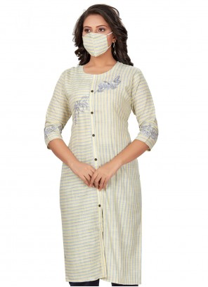 Embroidered Cotton Party Wear Kurti in Cream