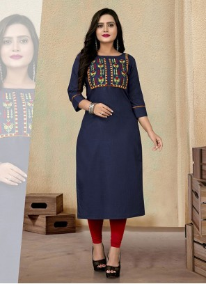 Embroidered Cotton Party Wear Kurti in Navy Blue