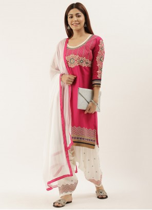 Off White Embroidered Cotton Punjabi Suit