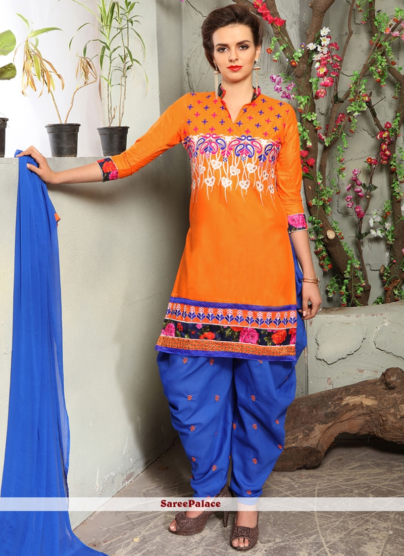 Embroidered Cotton   Punjabi Suit in Blue and Orange