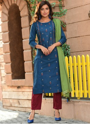 Embroidered Cotton Readymade Suit in Blue