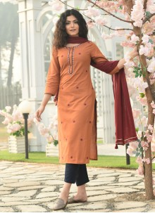 Embroidered Cotton Readymade Suit in Orange
