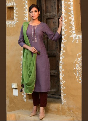 Embroidered Cotton Readymade Suit in Purple