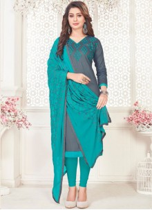 Embroidered Cotton Satin Churidar Suit in Grey