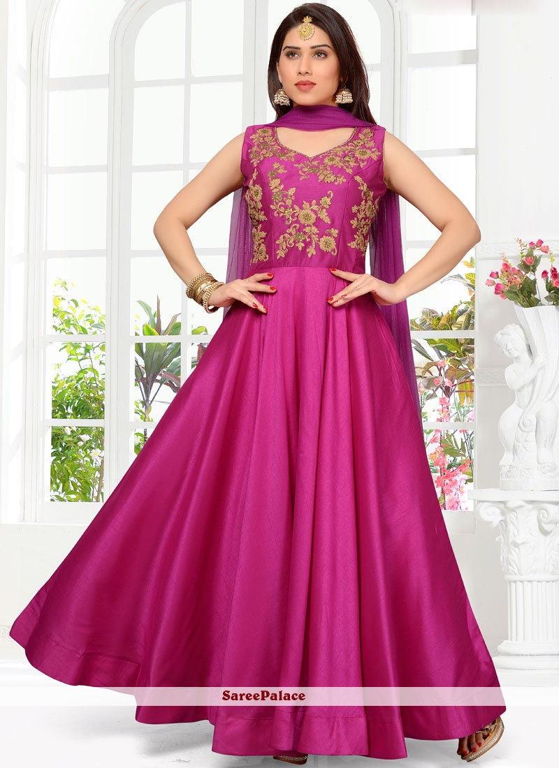 Embroidered Cotton Satin Readymade Suit in Magenta