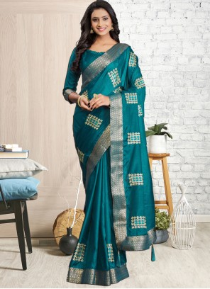 Embroidered Cotton Silk Morpeach Classic Designer Saree