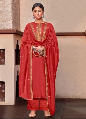 Red Embroidered Cotton Silk Designer Palazzo Suit