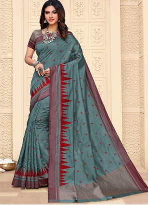 Embroidered Cotton Silk Grey Contemporary Style Saree