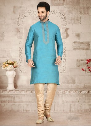 Embroidered Cotton Silk Kurta Pyjama in Turquoise