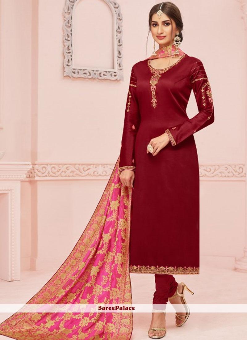 eaf159dfdb81 Buy Embroidered Cotton Silk Maroon Churidar Salwar Kameez Online