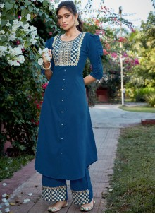 Embroidered Cotton Silk Readymade Suit