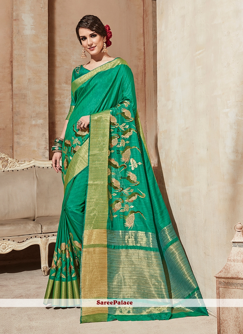 Green Embroidered Cotton Silk Traditional Saree