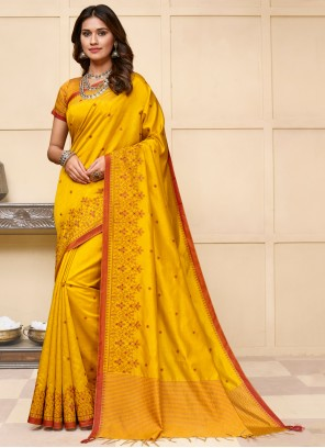 Embroidered Cotton Silk Yellow Designer Traditional Saree