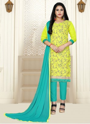 Embroidered Cotton Trendy Salwar Kameez in Green