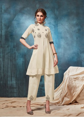Embroidered Cotton White Party Wear Kurti