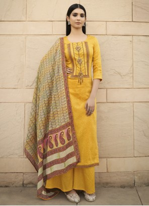 Embroidered Cotton Yellow Designer Palazzo Salwar Suit