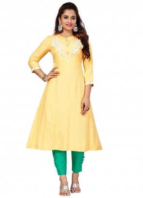 Embroidered Cotton Yellow Party Wear Kurti