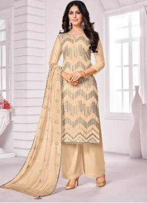 Embroidered Cream Cotton Designer Palazzo Suit